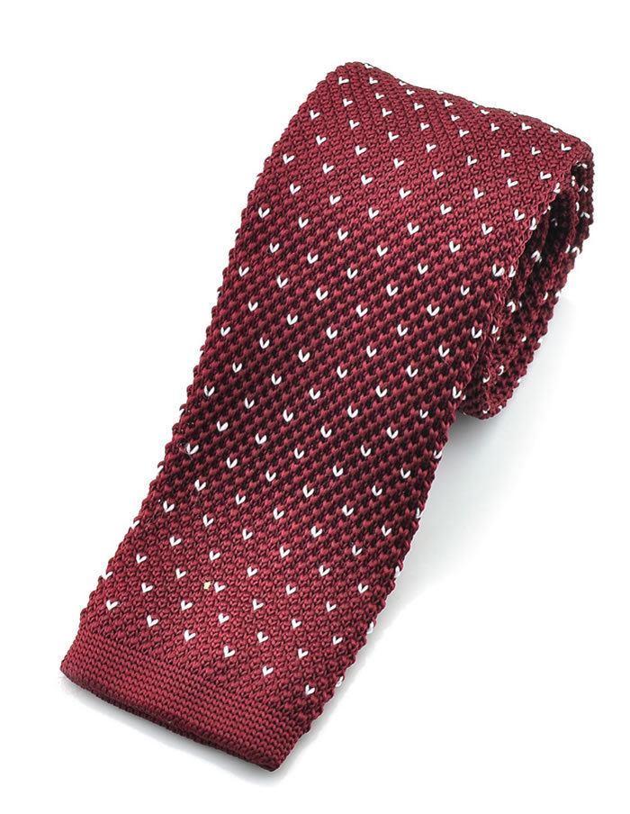 Bordová pletená kravata