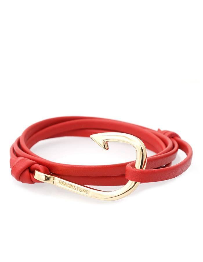Náramok Virginstone červený kožený s hákom